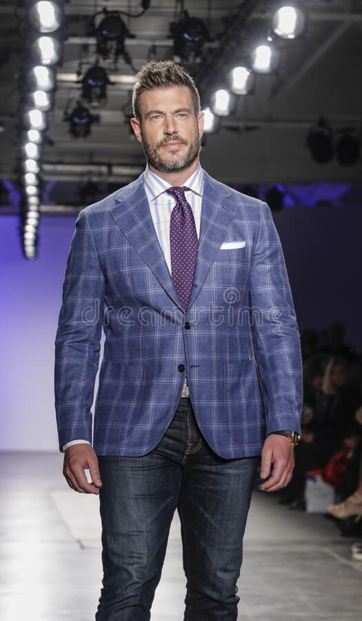 Blue Jacket Fashion Show 2020 royalty free stock photo
