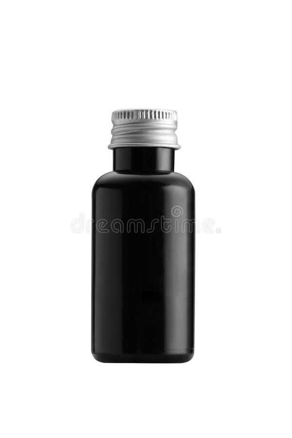 The blue jar packaging isolated on white backgroundthe small bottle black color packaging isolated on white background. The small bottle black color packaging royalty free stock photos