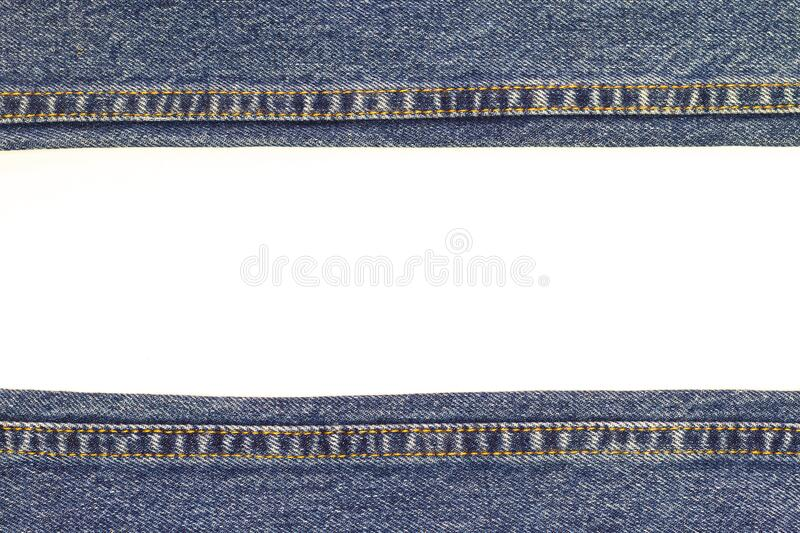 Blue jean, denim fabric texture isolated on white background with space for texture. stock images