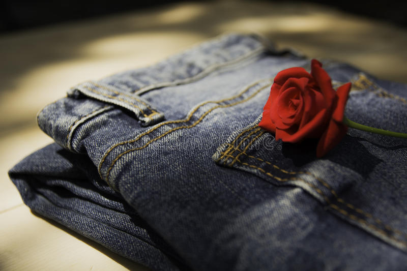 Blue jeans folded with red rose on wooden table and on wooden ba. Ckground stock photo