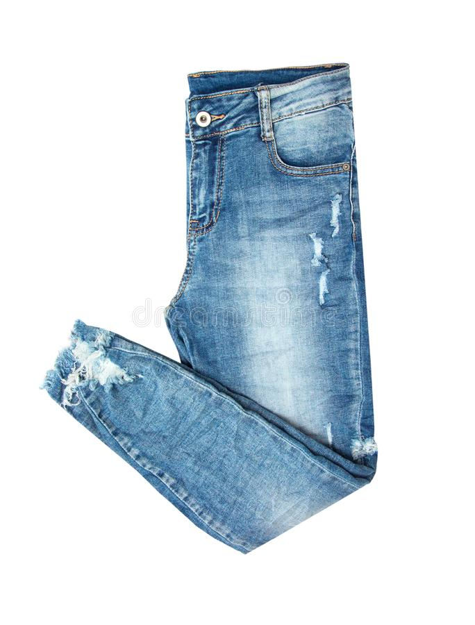 Blue jeans folded in two isolated on white background. Fashion object royalty free stock photos
