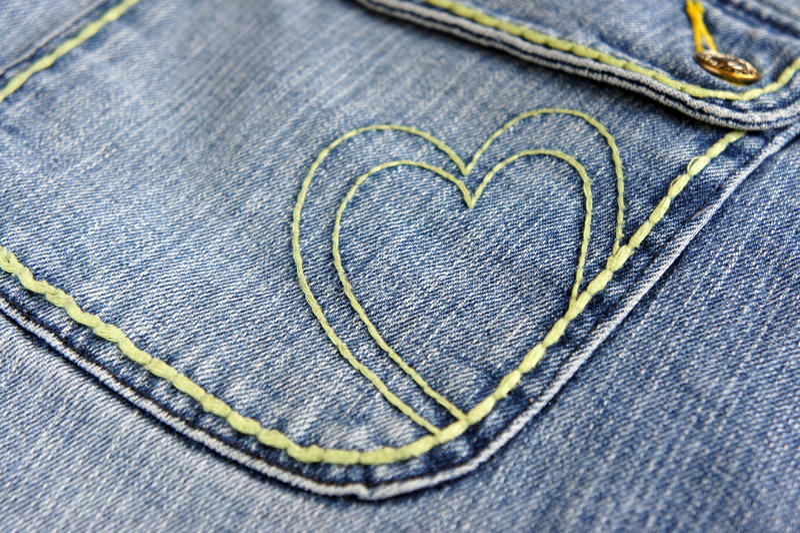 Blue jeans heart stock photos