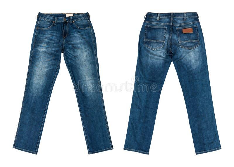 Blue jeans isolate su priorità bassa bianca immagine stock