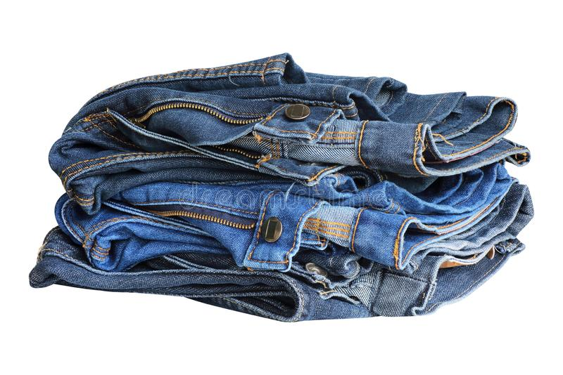 Blue jeans isolated on white background stock photos