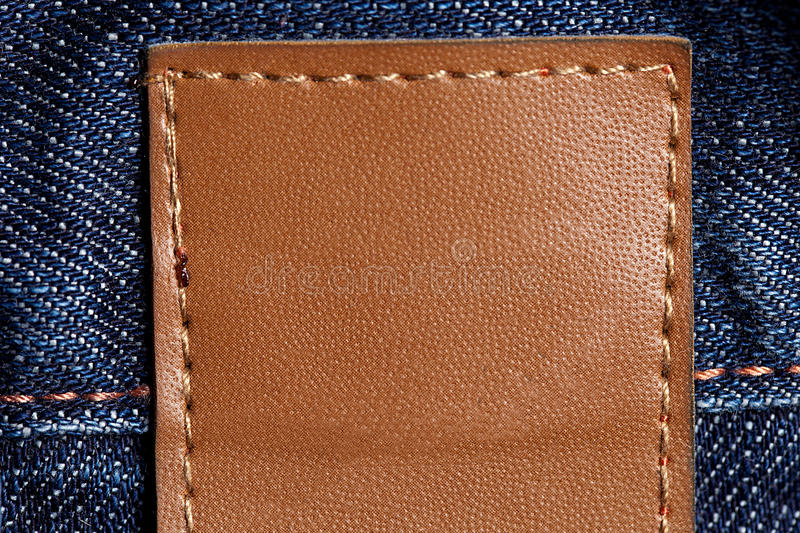 Download Blue Jeans With Leather Stricker Stock Image - Image: 22163329
