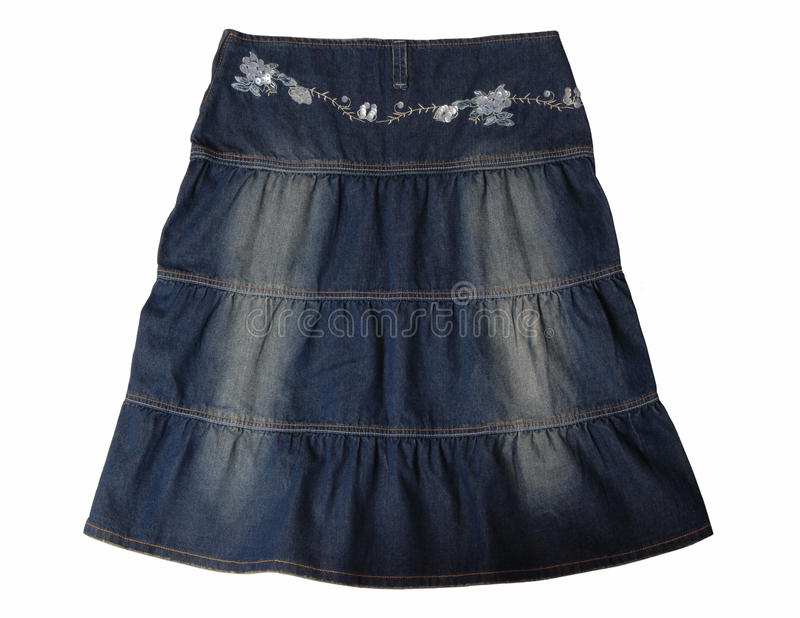 Download Blue jeans skirt. stock photo. Image of embroidery, fashion - 25790952