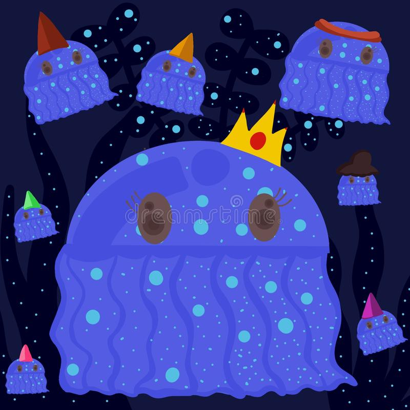 Blue jellyfish princess and cute friends vector illustration