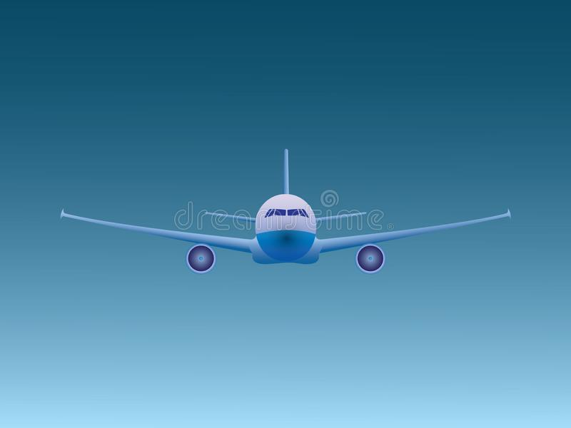 A blue jet airplane flying in the open sky for airline business stock illustration