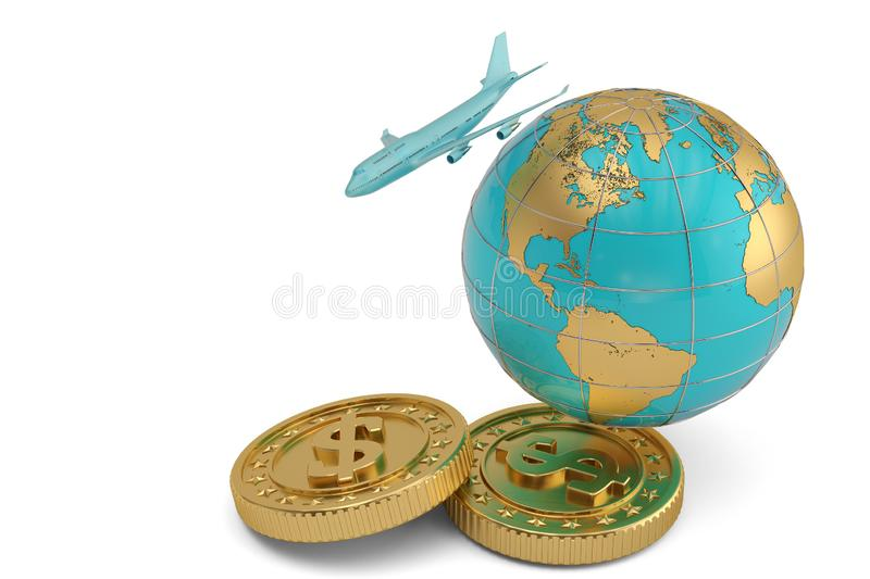 Blue jet airplane and globe with gold coins isolated on white background 3D illustration.  stock illustration