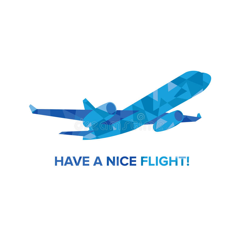 Blue jet airplane with patterns isolated on white. Background. Flat vector clip art. Greeting card or poster template - plain in the sky. With place for text.n royalty free illustration
