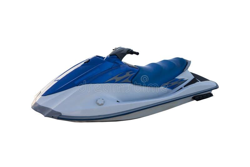Blue jet ski isolated on white. Beautiful blue jet ski isolated on white stock images