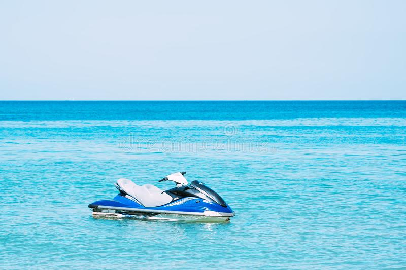 Blue Jet-Ski in the Water near the beach. No people.  stock images
