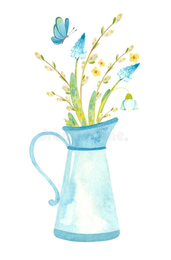 Free Blue Jug With Spring Flowers, Pussy Willow And Butterfly. Royalty Free Stock Photos - 210897338