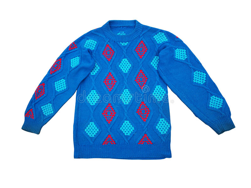 Blue jumper. Blue woolen knitted jumper isolated on white royalty free stock photography