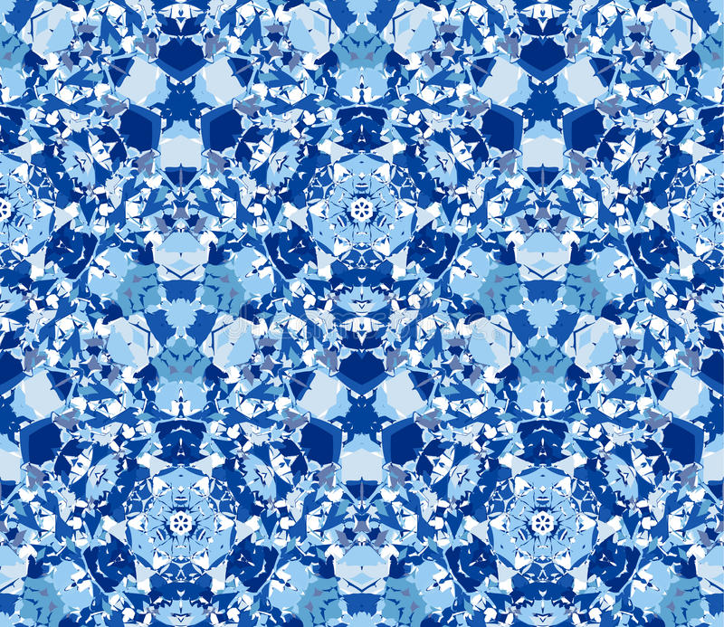 Blue kaleidoscope background. Seamless pattern composed of color abstract elements located on white background. Useful as design element for texture, pattern vector illustration