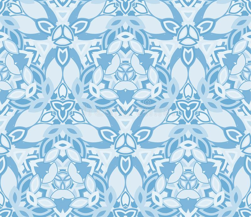 Blue kaleidoscope seamless pattern, background. Composed of abstract shapes. stock illustration