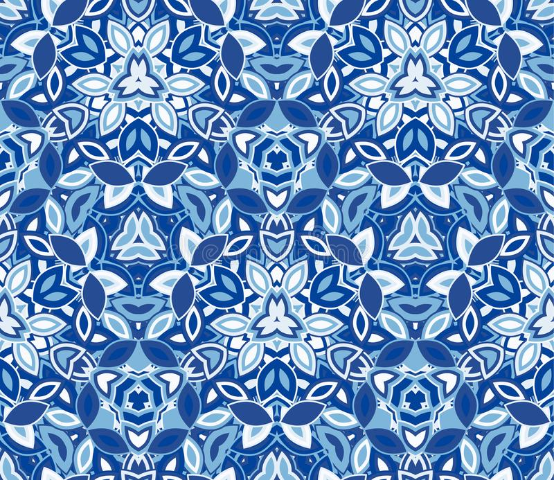 Blue kaleidoscope seamless pattern, background. Composed of abstract shapes. vector illustration