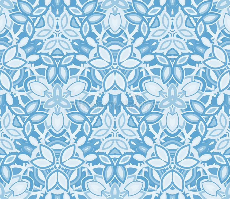 Blue kaleidoscope seamless pattern, background. Composed of abstract shapes. royalty free illustration