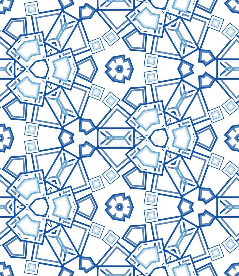 Blue kaleidoscope seamless pattern. Geometric abstraction on white background. royalty free illustration