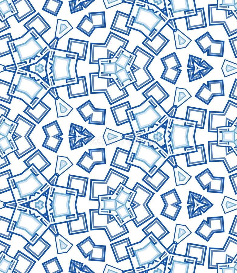 Blue kaleidoscope seamless pattern. Geometric abstraction on white background. stock illustration