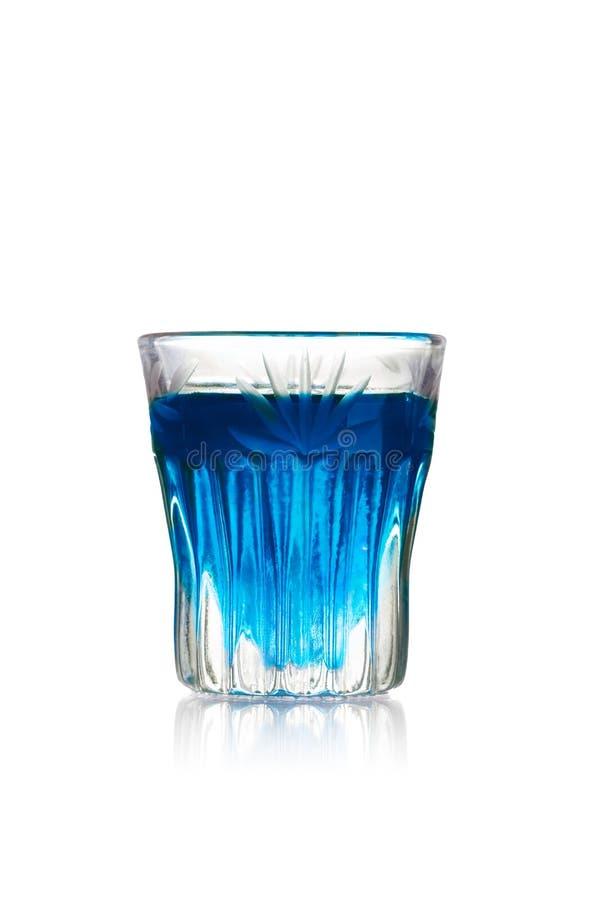 Blue kamikaze shot. Blue kamikaze alcoholic cocktail in shot glass (shooter stock images