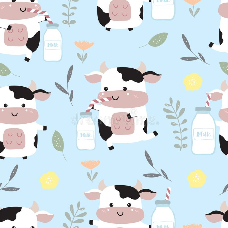 Blue kawaii seamless pattern with cow,milk,flower royalty free illustration
