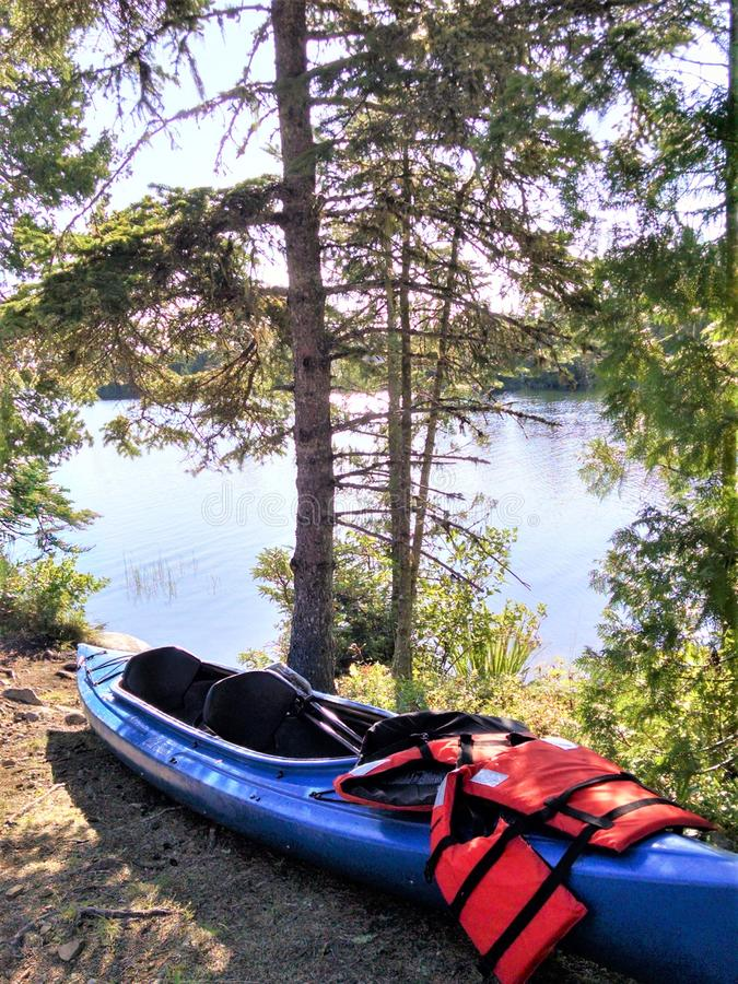 Kayaks and lifevests at edge of pond. Tandem dual plastic kayak rests on ground outside of freshwater put in location.  Sunlight filters through tall conifers on royalty free stock image