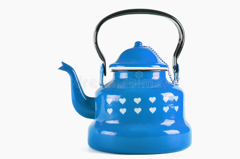 Blue kettle isolated on white with clipping. Blue kettle isolated on white background with clipping stock photo