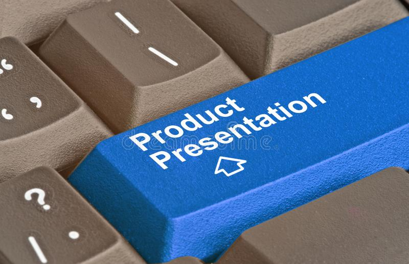 Key for product presentation. Blue key for product presentation stock images