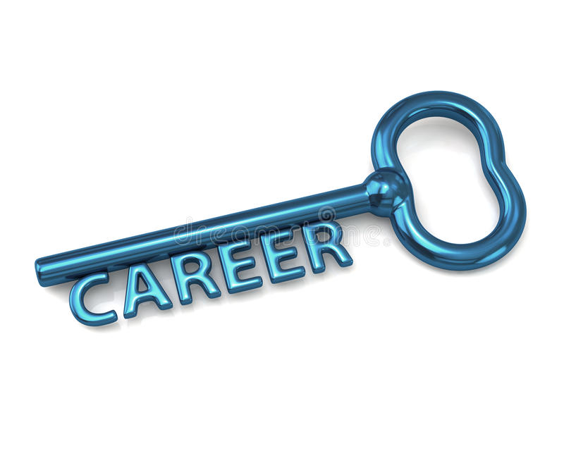Blue key with word career. 3d illustration of blue key with word career royalty free illustration