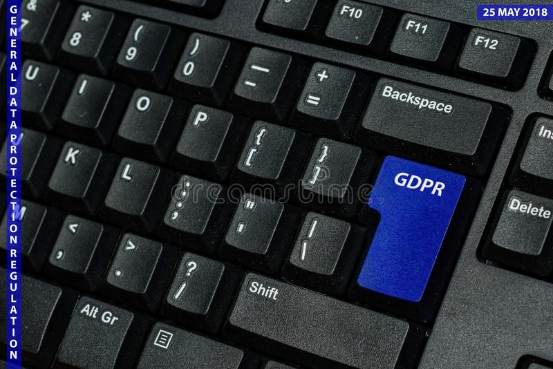 Blue keyboard key with text GDPR as symbol for Privacy and General Data Protection Regulation on a notebook computer.  royalty free stock photography