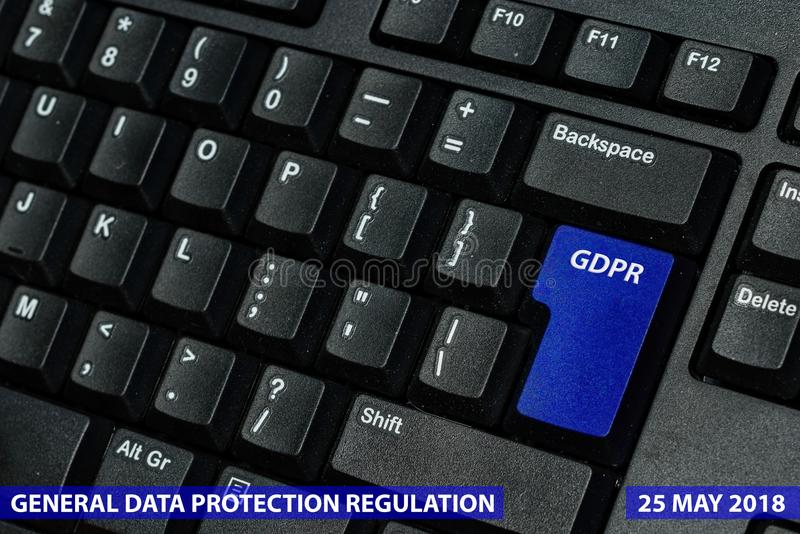 Blue keyboard key with text GDPR as symbol for Privacy and General Data Protection Regulation on a notebook computer.  stock images