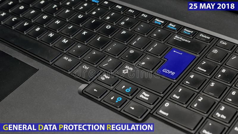 blue keyboard key with text GDPR as symbol for Privacy and General Data Protection Regulation on a notebook computer stock images