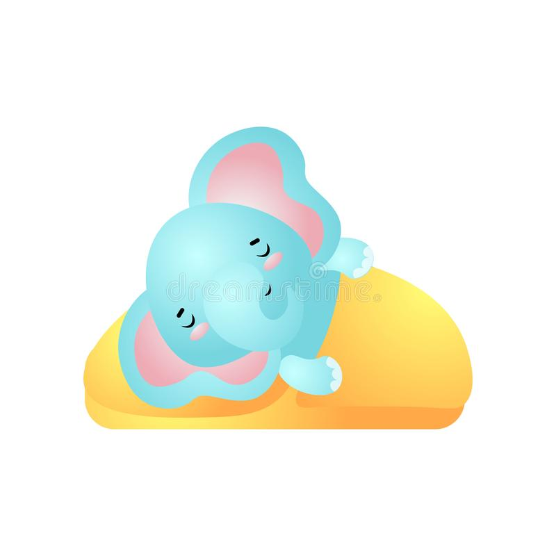 Blue kid elephant is sleeping well under yellow cover royalty free illustration