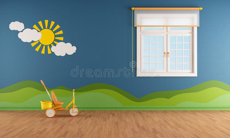 Blue kids room. With window and decoration on wall - rendering vector illustration
