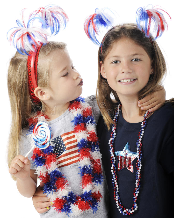 Download Blue Kisses on the Fourth stock photo. Image of headbands - 25377492