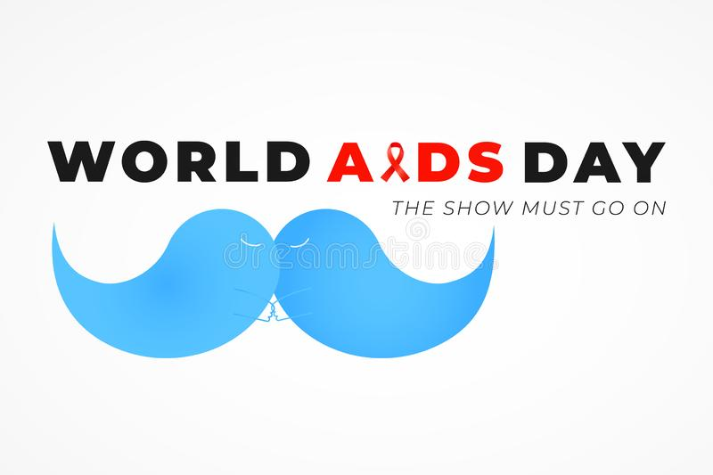 Blue kissing mustaches and red awareness ribbon as a symbols of World AIDS alertness day.  royalty free illustration