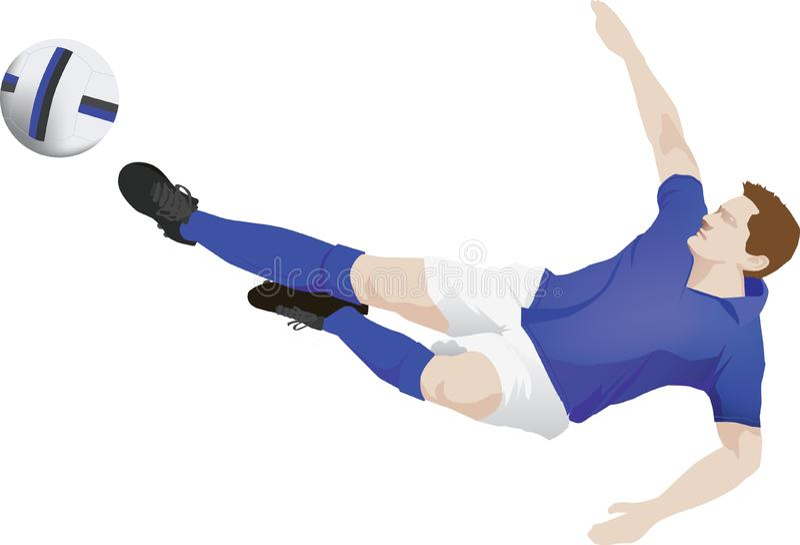 Download Blue Kit Soccer Player Kick Stock Vector - Illustration of footballer, strip: 9803402