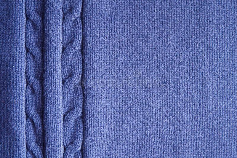 Blue knitting texture background or knitted pattern background. stock photos