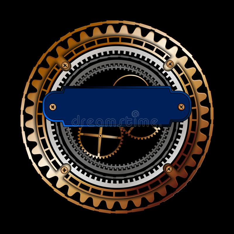 Blue lable, Vector golden , copper gears wheels.vintage, victorian, old, atique. Steampunk illustration stock illustration