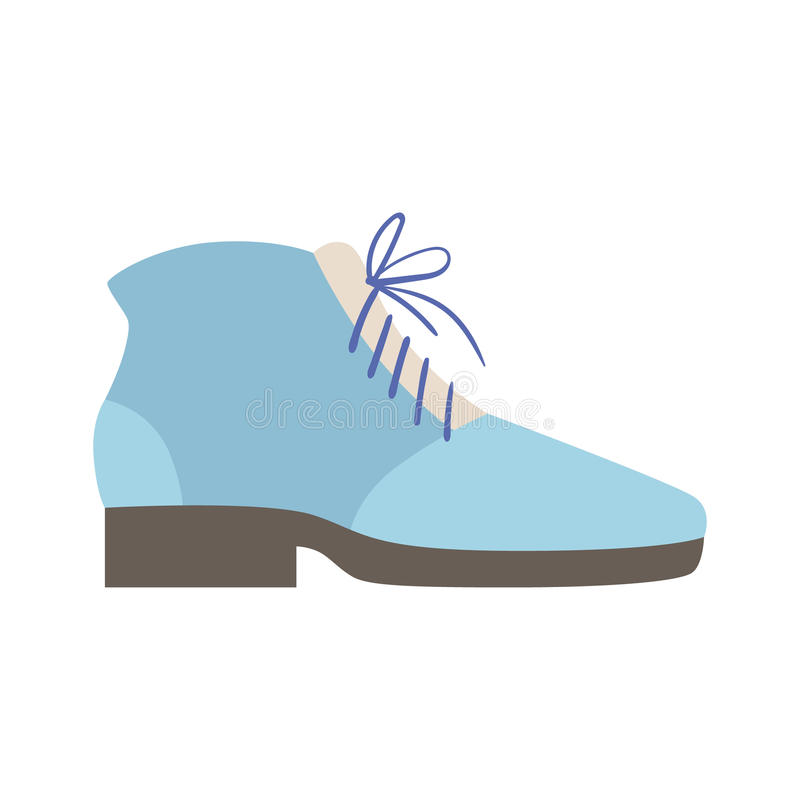 Blue Lace-up Shoe, Isolated Footwear Flat Icon, Shoes Store Assortment Item. Cartoon Realistic Footgear Single Object, Fashion Accessory Simple Vector stock illustration