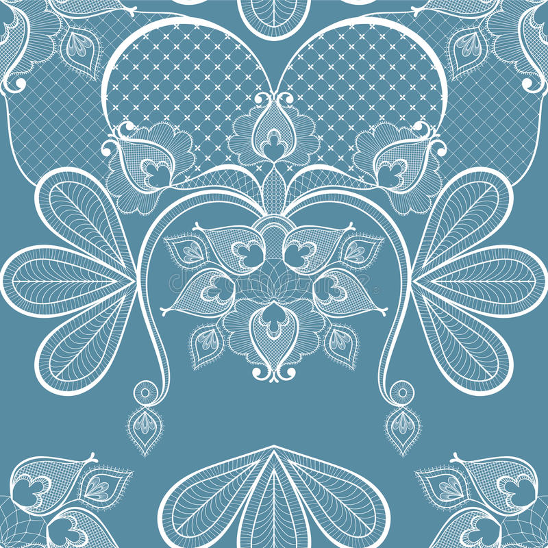 Blue lace vector illustration for vintage card decoration, seamless pattern. Floral romantic background. Zentangle ornament for w vector illustration