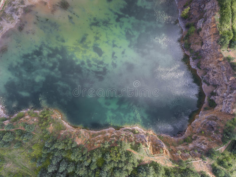 Blue laggon see from above in old sand mine in Poland. royalty free stock photos