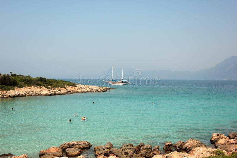 Blue lagoon in the Aegean Sea. stock image
