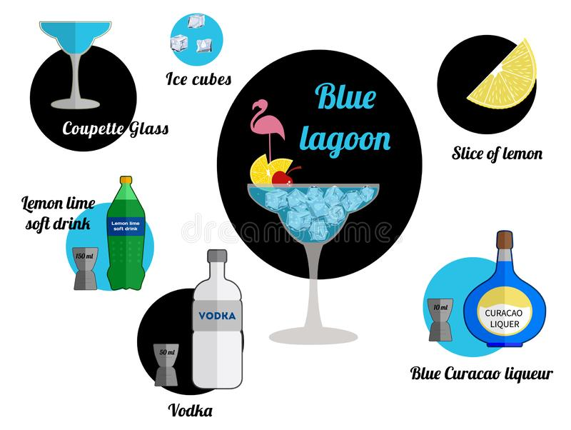 Blue lagoon. Alcoholic popular cocktail blue lagoon recipe with ingredients. Cocktail infographic set. Flat vector illustration. Vodka, lemon lime soft drink stock illustration