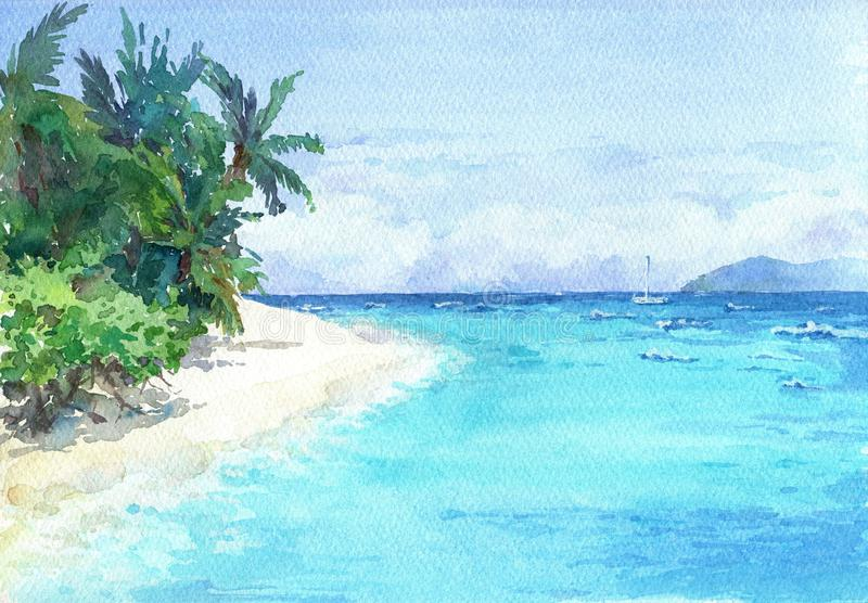 Blue lagoon beach with palms and white sand. Watercolor hand drawn illustration stock illustration