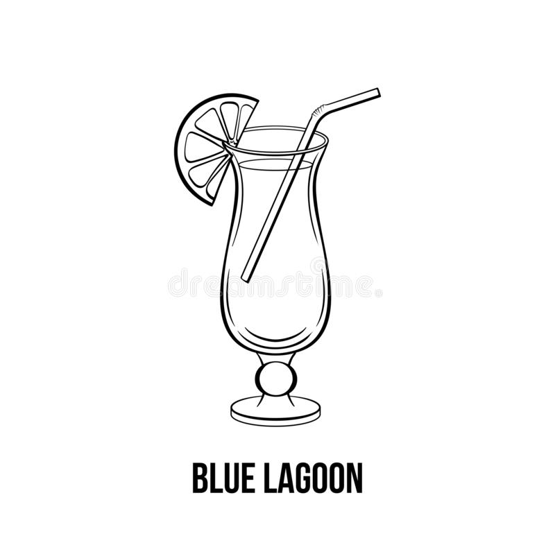 Blue lagoon black and white illustration. Blue lagoon vector hand drawn illustration. Liquor with straw. Monochrome strong drink with orange slice on glass ink vector illustration