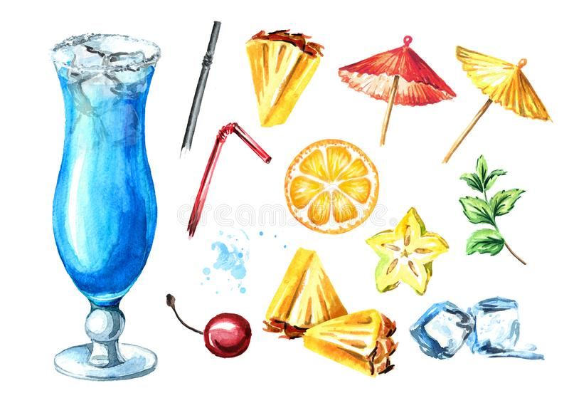 Blue lagoon cocktail with decor elements set. Watercolor hand drawn illustration isolated on white background.  vector illustration