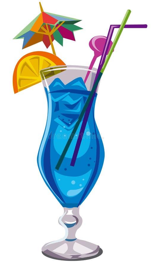 Blue lagoon cocktail vector illustration