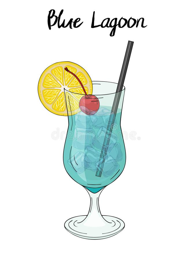 Blue lagoon cocktail, with lemon decorations,. Cherry and straw. For cafe and restaurant menu, packaging and advertisement. Hand drawn. Isolated image. Vector vector illustration